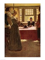 Mary Dyer Brought Before Governor Endicott Fine Art Print