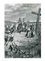 Jacques Cartier Setting up a Cross at Gaspe Fine Art Print