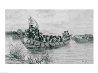 The Landing of Cadillac, illustration from 'The City of the Strait' Fine Art Print