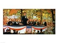 Abraham Lincoln and Stephen A. Douglas debating at Charleston Fine Art Print