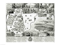 Map of Civil War England and a view of Prague, 1632, 1632 - various sizes
