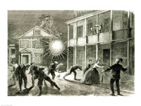 The Federals shelling the City of Charleston: Shell bursting in the streets in 1863 - various sizes