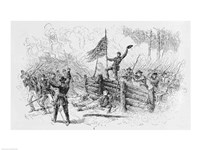 Capture of a part of the burning union breastworks on the Brock Road on the afternoon of May 6th Fine Art Print