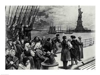 New York - Welcome to the land of freedom - An ocean steamer passing the Statue of Liberty Fine Art Print