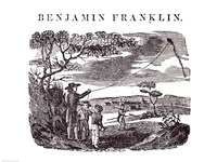 Benjamin Franklin Conducts his Kite Experiment Fine Art Print
