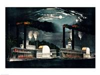 Midnight Race on the Mississippi Fine Art Print