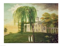 President George Washington on the porch of his house at Mount Vernon Fine Art Print