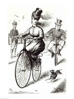 Cartoon of a Lady on a Velocipede, 1869 Fine Art Print