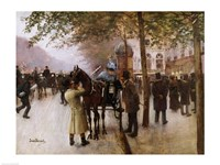 The Boulevards, Evening in Front of the Cafe Napolitain Fine Art Print