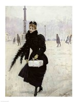 Parisian woman in the Place de la Concorde Fine Art Print