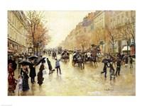 Boulevard Poissonniere in the Rain by Jean Beraud - various sizes