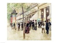 The Boulevard Montmartre and the Theatre des Varietes Fine Art Print