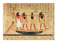 Papyrus depicting a man being transported on a barque to the afterlife Fine Art Print
