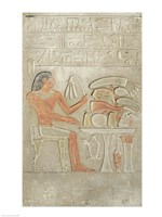 Stela depicting the deceased before an offering table Fine Art Print