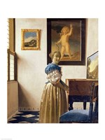 Lady standing at the Virginal Fine Art Print