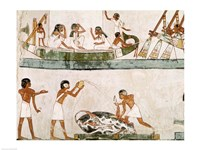 Sacrifice and purification of a bull, and a sailing ritual, from the Tomb of Menna Fine Art Print
