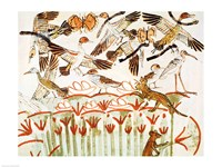 Fishing and fowling in the marshes, detail of the birds, from the Tomb Chapel of Menna Fine Art Print