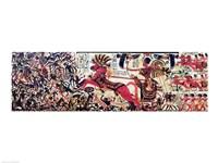 Tutankhamun on his chariot attacking Africans Fine Art Print