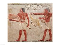 Relief depicting servants carrying a haunch of beef and a duck, from the Tomb of Princess Idut Fine Art Print