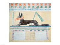 Anubis, Egyptian god of the dead, lying on top of a sarcophagus Fine Art Print