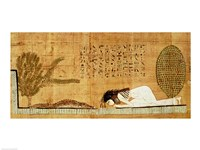 Funerary papyrus depicting the deceased prostrate in front of the crocodile Fine Art Print
