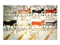 The seven celestial cows and the sacred bull and the four rudders of heaven Fine Art Print