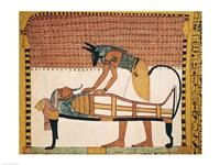 Anubis attends Sennedjem's Mummy Fine Art Print