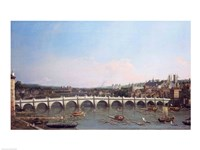 Westminster Bridge from the North with Lambeth Palace in distance by Giovanni Antonio Canaletto - various sizes