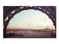 London seen through an arch of Westminster Bridge Fine Art Print