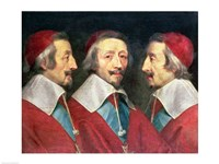 Triple Portrait of the Head of Richelieu, 1642 Fine Art Print