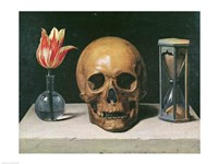 Vanitas Still Life with a Tulip, Skull and Hour-Glass Framed Print