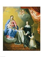 The Virgin Mary gives the Crown and Sceptre to Louis XIV, 1643 Fine Art Print