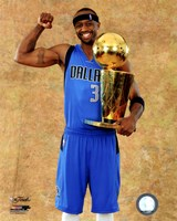 Jason Terry with the 2011 NBA Championship Trophy Game 6 of the 2011 NBA Finals Fine Art Print