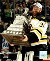 Tim Thomas with the Conn Smythe Trophy Game 7 of the 2011 NHL Stanley Cup Finals(#44) Fine Art Print
