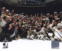 The Boston Bruins Celebrate Winning Game 7 of the 2011 NHL Stanley Cup Finals Framed Print