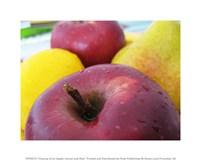 Closeup of an Apple, Lemon and Pear - various sizes