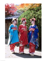 Three geishas, Kyoto, Honshu, Japan (posed) Fine Art Print