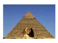 Great Sphinx  Chephren Pyramid  Giza  Egypt Fine Art Print