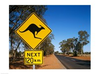 Kangaroo crossing sign, Australia Framed Print