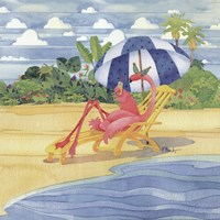 Deck Chair Flamingo Fine Art Print