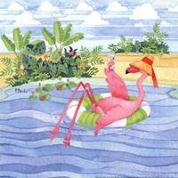 Martini Float Flamingo Framed Print