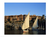 Sailboats in a river, Old Cataract Hotel, Aswan, Egypt - various sizes