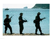 U.S. Navy Special Forces (S.E.A.L.) Team Patroling Beach - various sizes