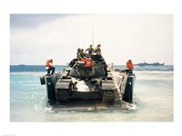 Army soldiers on a military tank in the sea, M551 Sheridan Fine Art Print