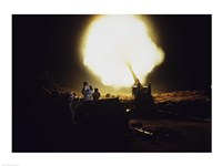M198 Towed Howitzer Night Fire Fine Art Print