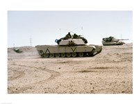 Kuwait: Two M-141 Abrams Main Battle Tanks Fine Art Print