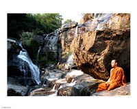 Buddhist Monk In Mae Klang Waterfall Fine Art Print