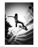 Skateboarding Black And White Framed Print