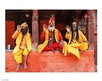 Three Saddhus at Kathmandu Durbar Square - various sizes