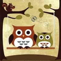 Two Owls on Swing Framed Print